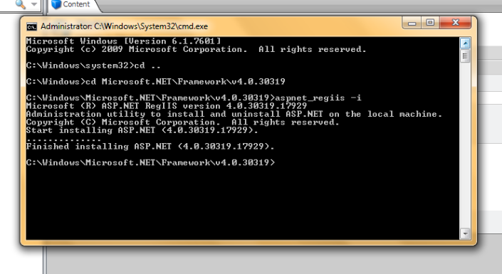 HTTP Error 500.19 - Internal Server Error - cmd_repaire_dotnetframework