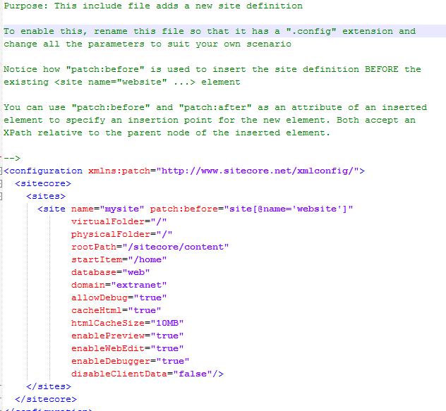multisite configuration sitecoredefinition default