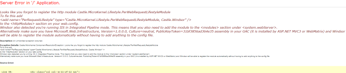 Sitecore - Forgot to register the http module Castle.MicroKernel.Lifestyle.PerWebRequestLifestyleModule.png
