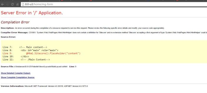 'System.Web.WebPages.Html.HtmlHelper' does not contain a definition for 'Sitecore' and no extension method 'Sitecore'