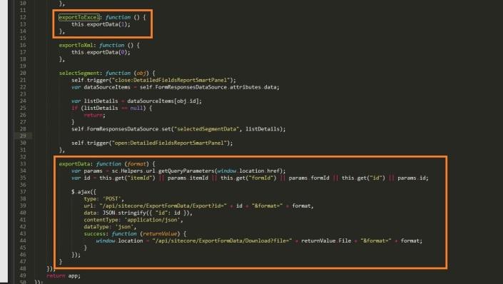 exporttoExcel method- FormReport js